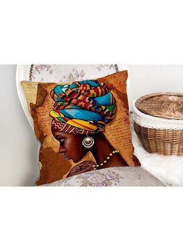 Real Homes African Woman Çizimli Dijital Baskılı Modern Yastık Kırlent Kılıfı Renkli